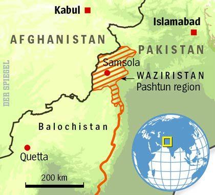 Karte der Region Waziristan