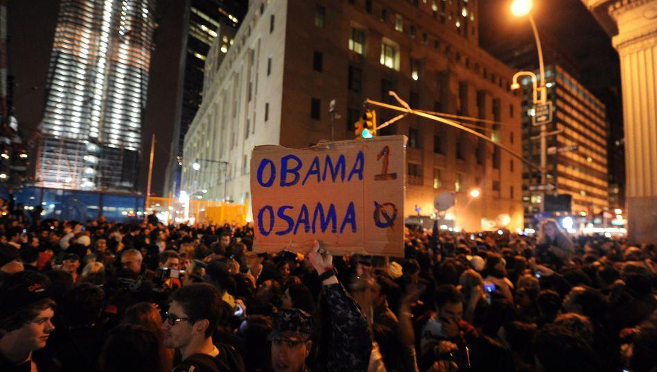 Crowds gather at Ground Zero in New York to celebrate the killing of top terrorist Osama bin Laden on Sunday night.