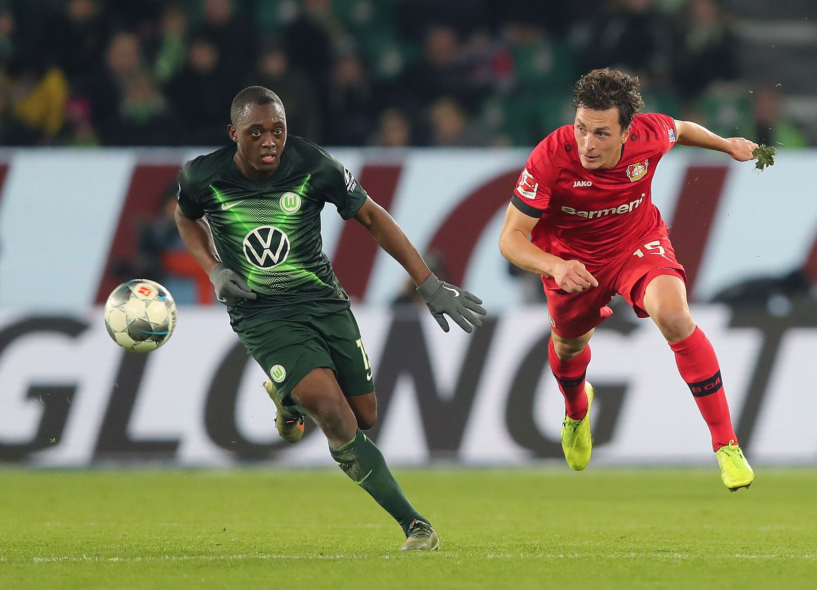 Jerome Roussillon (VfL Wolfsburg), Julian Baumgartlinger (Bayer 04 Leverkusen) DFL REGULATIONS PROHIBIT ANY USE OF PHOT