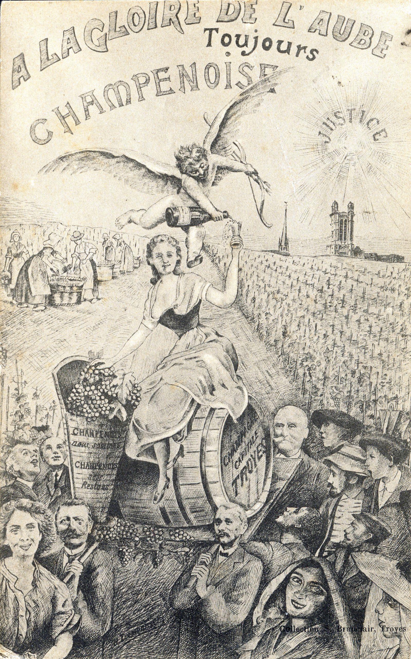 CRISE VITICOLE 1911 A la gloire de l Aube toujours Champenoise . Illustration allegorique a propos de la crise viticole