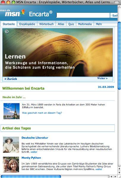 Microsoft-Enzyklopädie Encarta: Ende 2009 ist Schluss