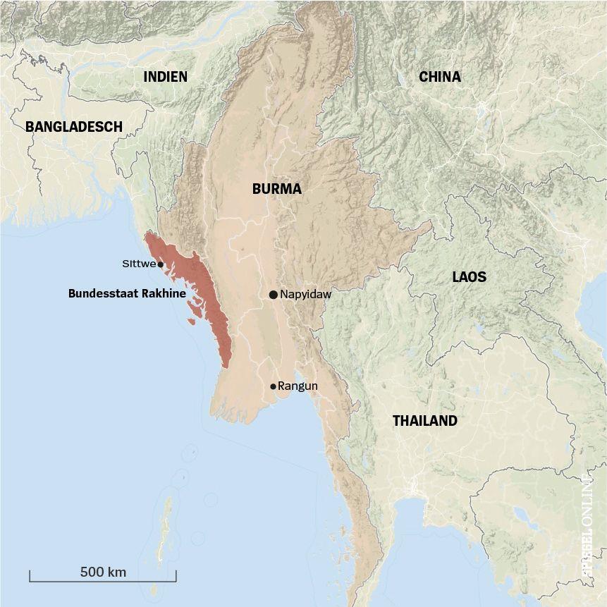 KARTE BURMA Rakhine Staat