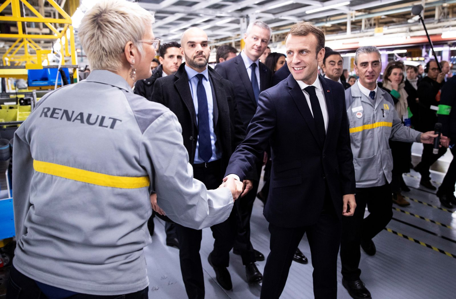 French President Emmanuel Macron visits the Renault factory in Maubeuge