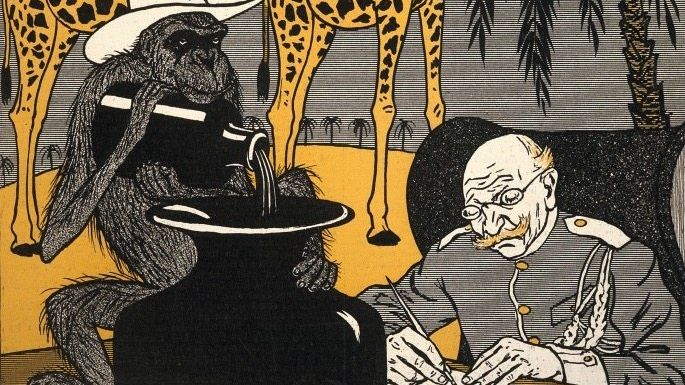 Karikatur der Zeitschrift »Simplicissimus« (1903): »Unter der deutschen Regierung können die Kolonien nicht gedeihen, weil in den Tropen die Tinte zu schnell eintrocknet«