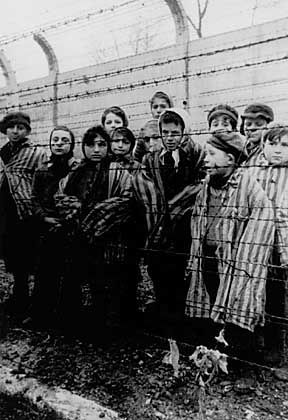 Over 6 million people were killed during the Holocaust. The group of children at the concentration camp Auschwitz seen here was liberated in January 1945 by Soviet troops.