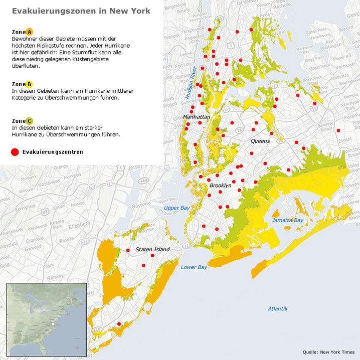 Die Evakuierungszonen in New York
