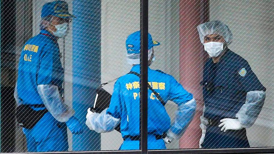 Japanische Ermittler am Tatort in Sagamihara (Archivbild): Keine Reue