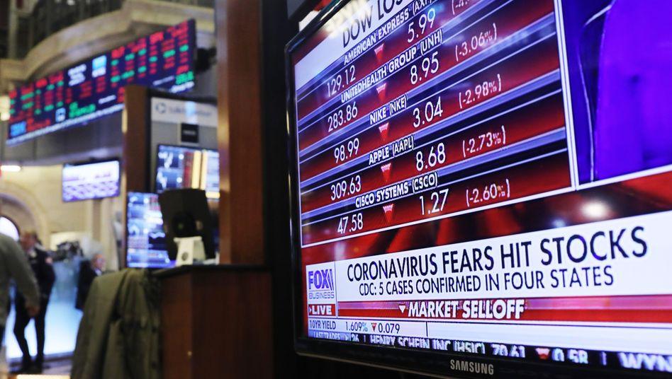 Börse in New York: Aktienkurse fallen wegen Corona