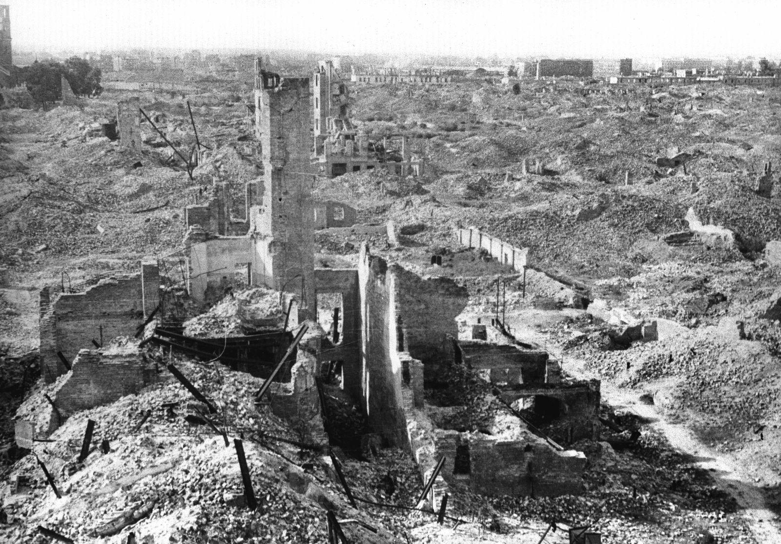 World War II. Ruins of