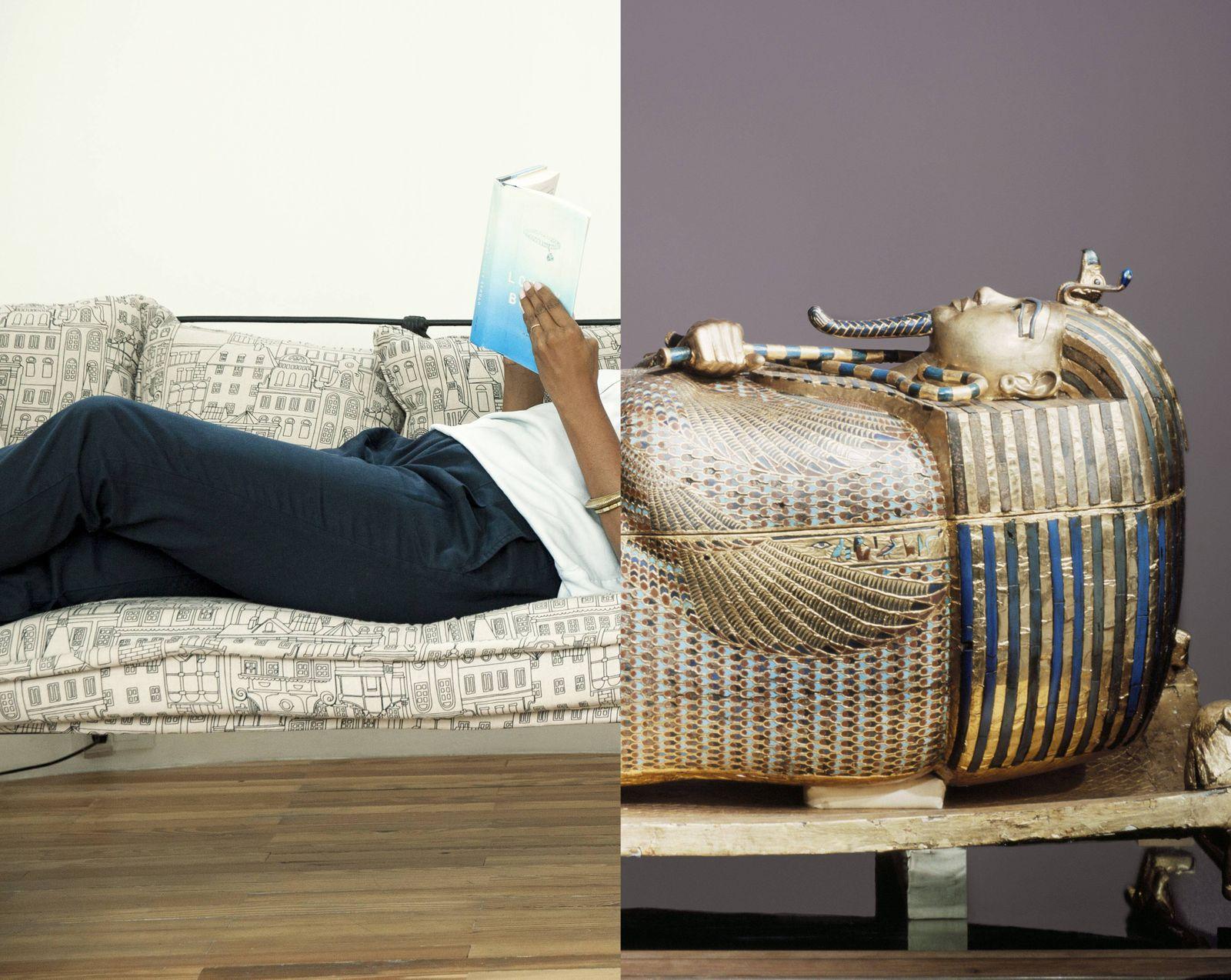 Woman relaxing at home with good book PUBLICATIONxINxGERxSUIxAUTxONLY Copyright SigridxOlsson B5579