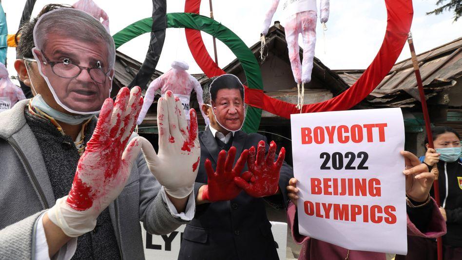 Demonstration von Olympia-Gegnern bei Dharamsala, Indien am 3. Februar