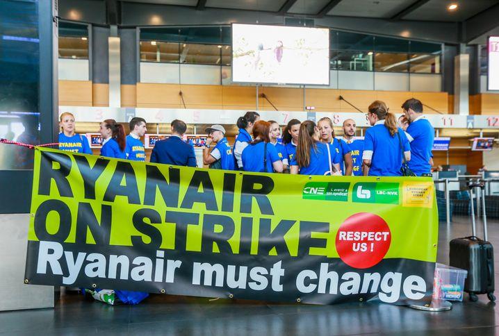 Streikende Mitarbeiter in Brüssel