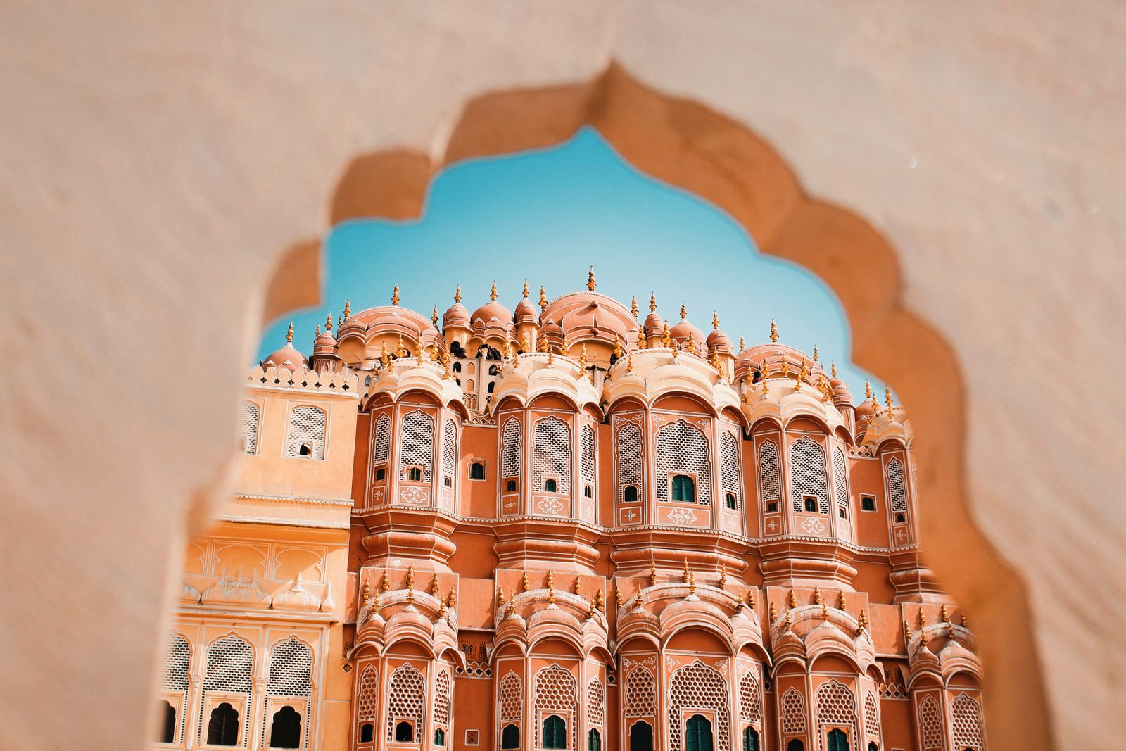 Inside of the Hawa Mahal or The palace of winds at Jaipur India. It is constructed of red and pink sandstone.