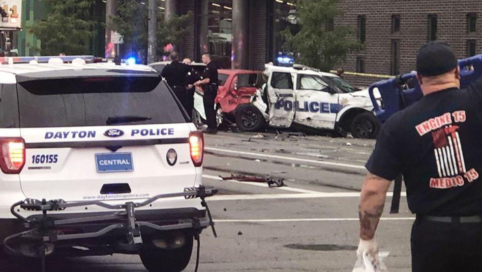 Unfallstelle in Dayton (Ohio): Erst ein Messerangriff, dann der tödliche Crash