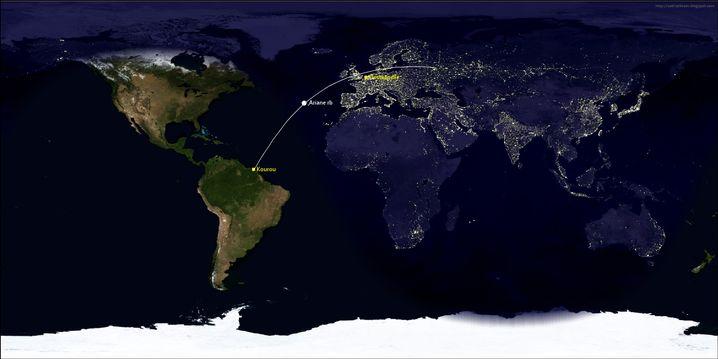 Flugbahn der Ariane-Rakete