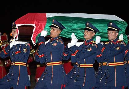 Arafats Sarg in Kairo: Zeremonie in Arafats Geburtsstadt