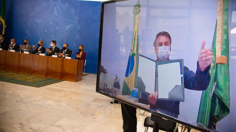 Jair Bolsonaro nahm am Mittwoch per Videoschalte an einer Veranstaltung teil