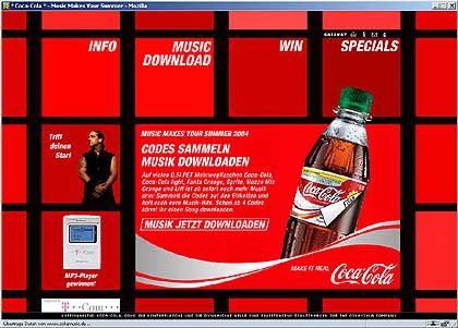 Coke-music.de: Vier Codes für einen Song