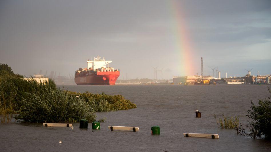 Containerschiff im Hamburger Hochwasser (Archiv): Reeder wollen klimafreundliche Schifffahrt fördern