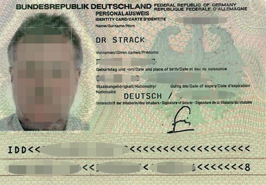 EINMALIGE VERWENDUNG Personalausweis / Doktortitel / Strack