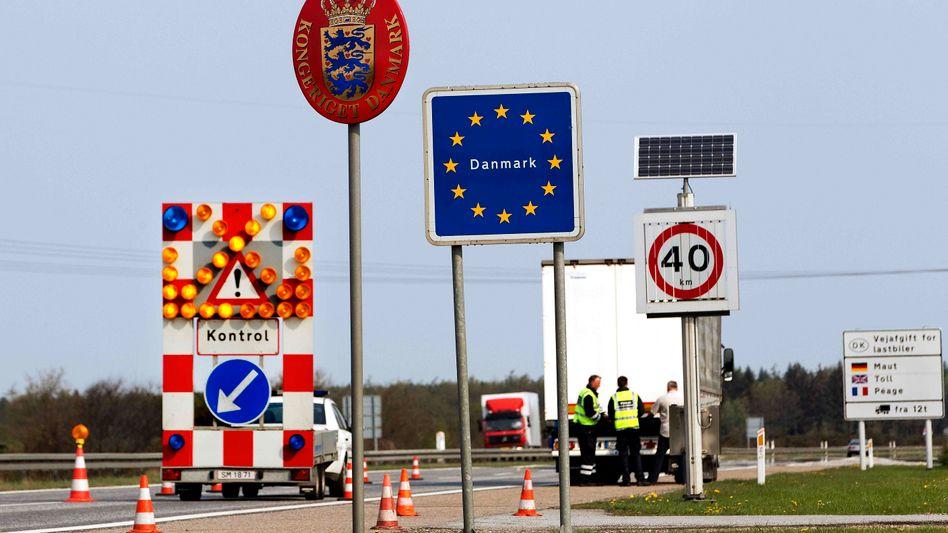 A Danish border control point. Denmark plans to tighten its border controls.