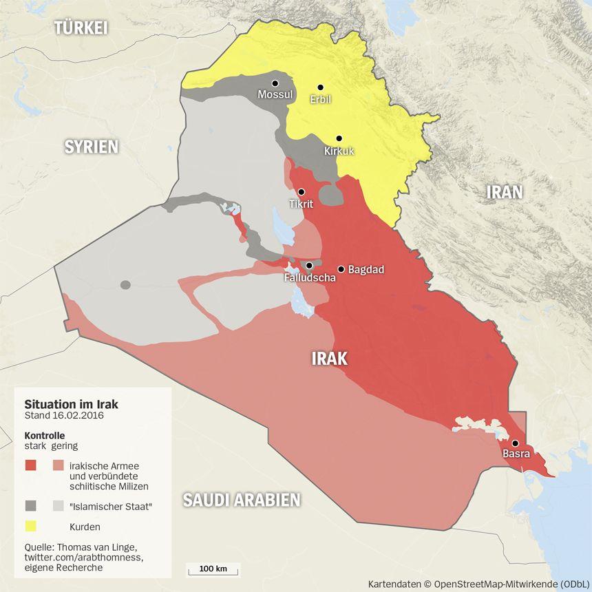 Grafik Karte Irak - Stand 16.02.2016