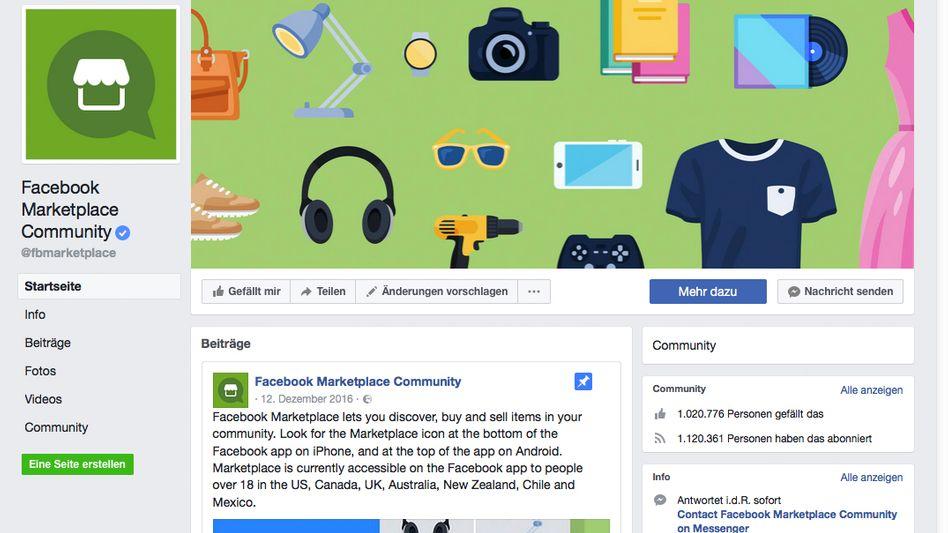 Screenshot der Facebook Marketplace Startseite.