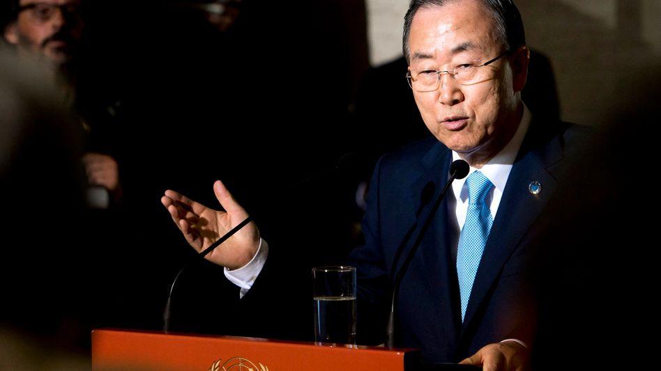 """Uno-Generalsekretär Ban Ki Moon: """"Militärisches Eingreifen ist bedenklich"""""""