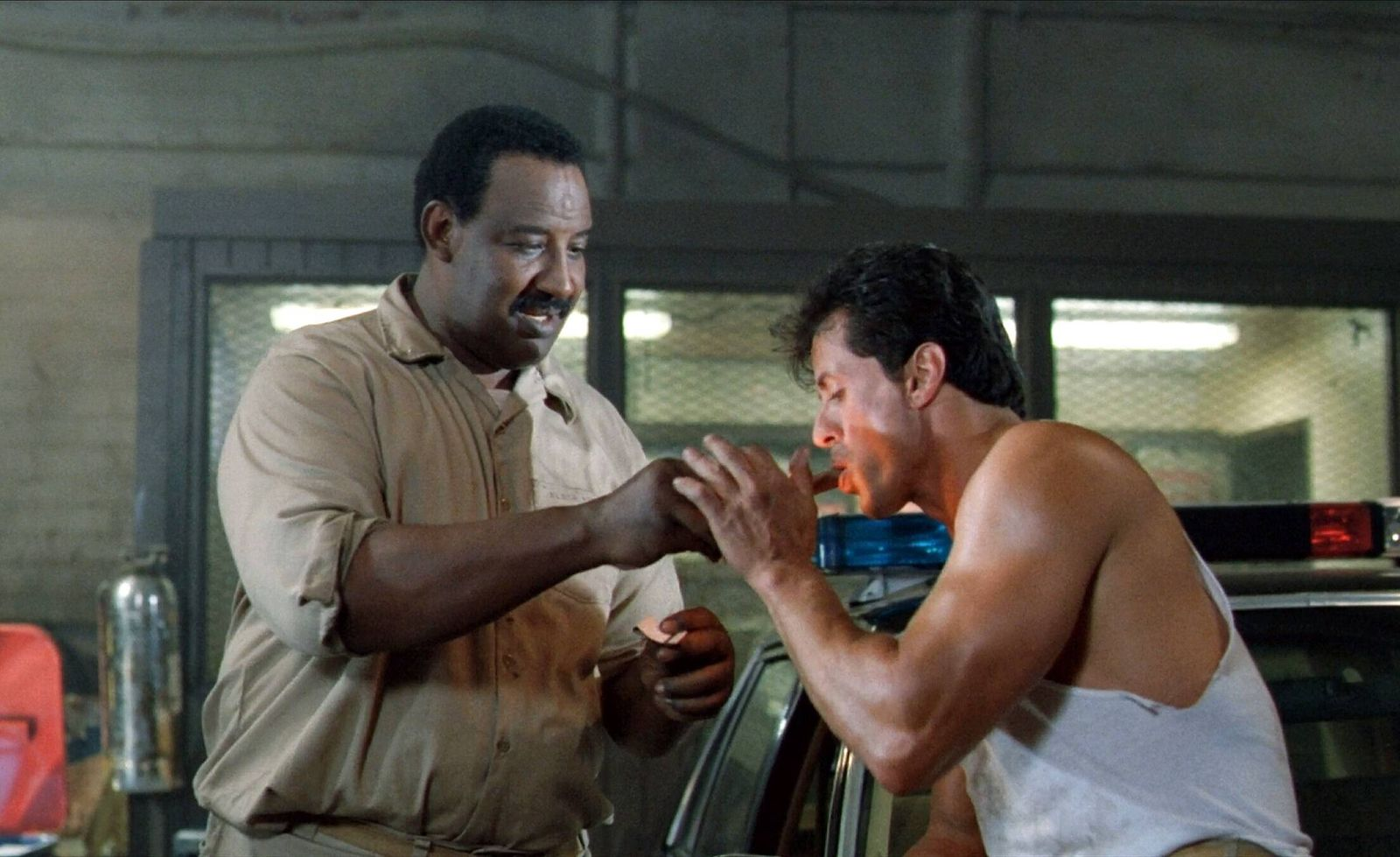 Frank Mcrae & Sylvester Stallone Characters: Eclipse, Frank Leone Film: Lock Up (1989) Director: John Flynn 04 August 19