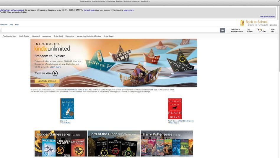 """Werbebild für """"Kindle Unlimited"""": Erst in den USA, bald wohl auch anderswo"""