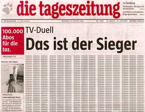 """Legendäres Titelblatt: Die """"taz"""" zum TV-Duell der K-Kandidaten"""