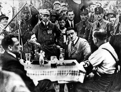 Hitler visiting members of his NSDAP party in Munich.