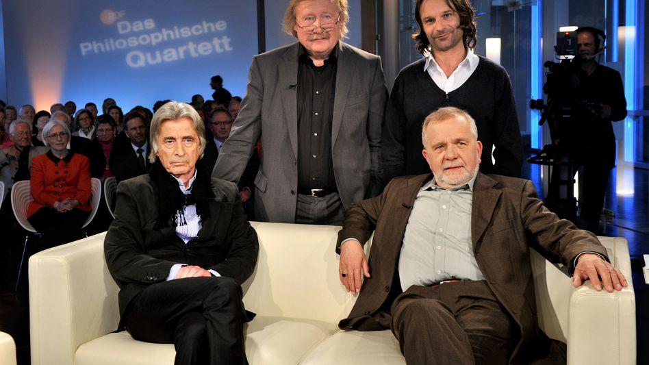 Quartett: Bernd Kauffmann, Peter Sloterdijk, Moritz Rinke und Rüdiger Safranski