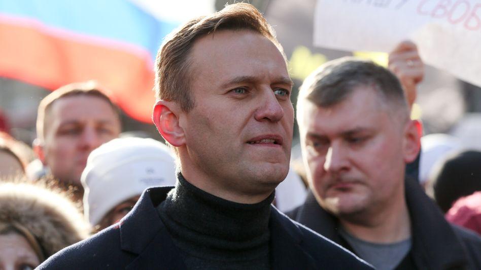 Alexej Nawalny bei einer Demonstration in Moskau im Februar 2019