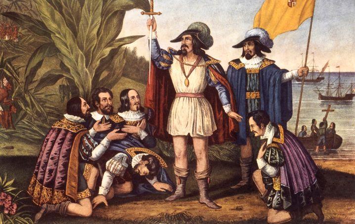 Lithografie von 1846: Die Landung von Kolumbus