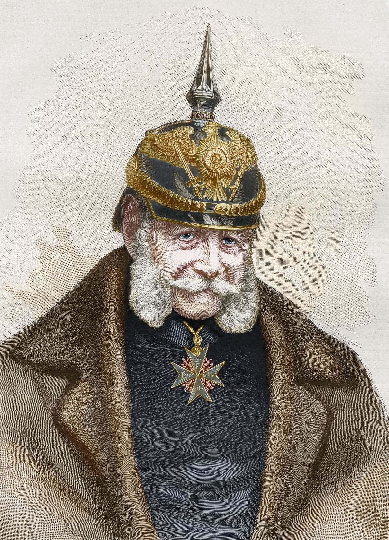 William I (1797-1888), King of Prussia and the first German Emperor born in Berlin (Germany). Engraving published in Paris Illustré on November 19, 1887. Coloured engraving.