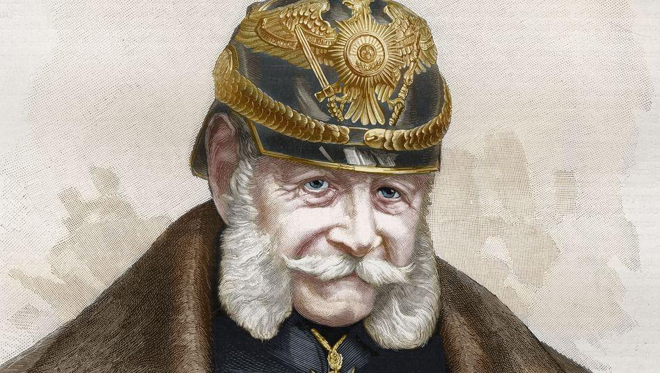 Oberhaupt: Wilhelm I., vormals König von Preußen, wurde am 18. Januar 1871 in Versailles zum Deutschen Kaiser und damit zum Staatsoberhaupt des Deutschen Reiches proklamiert. Er selbst hätte lieber den Titel »Kaiser von Deutschland« getragen (Stich von 1887).