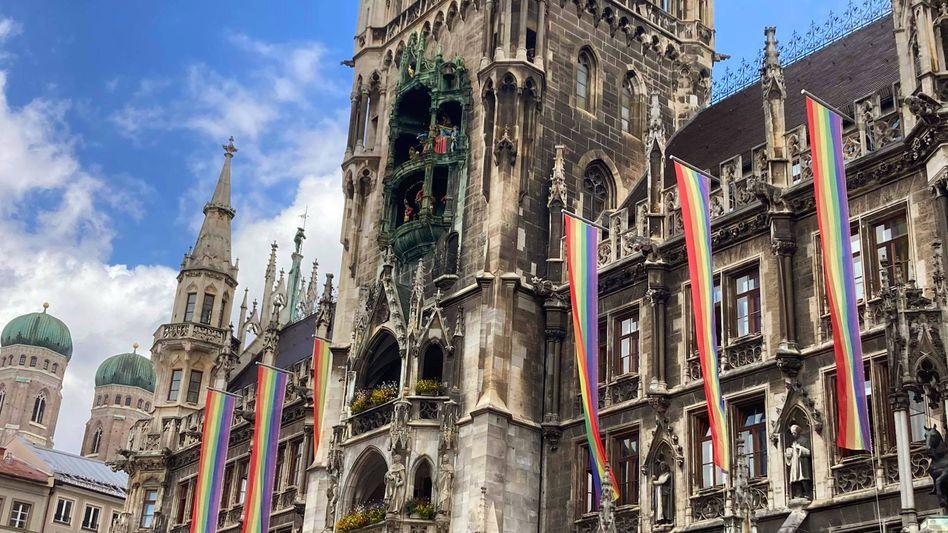 Solidaritätsaktion am Münchner Rathaus