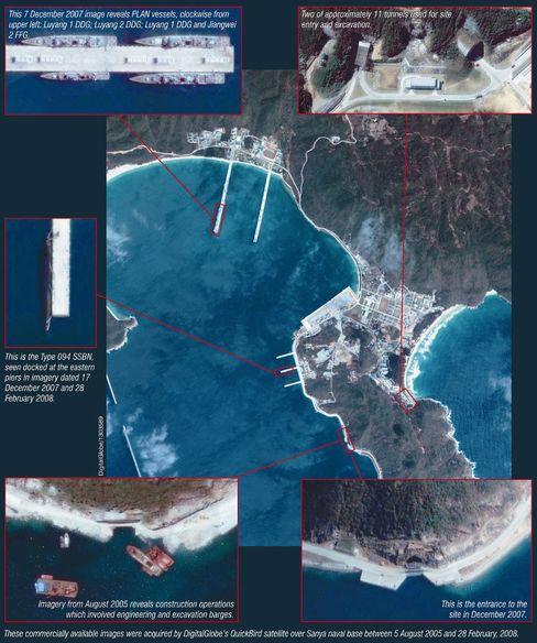 Verdächtige Anlage: Das Satellitenbild zeigt Tunnel, Einfahrten und Anleger der chinesischen Basis