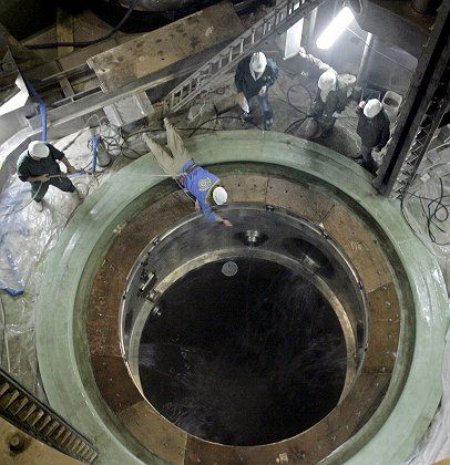 Technicians work on the reactor building of the Bushehr nuclear power plant in Iran.