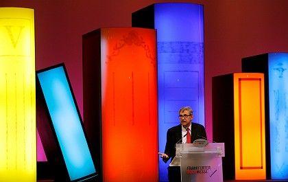 Nobel laureate Orhan Pamuk addressed the Frankfurt Book Fair this year.