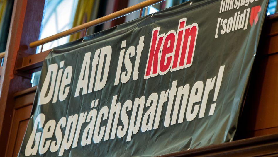 Banner der Linksjugend (in Mecklenburg-Vorpommern, Archivbild): Größter Gegner der Rechten