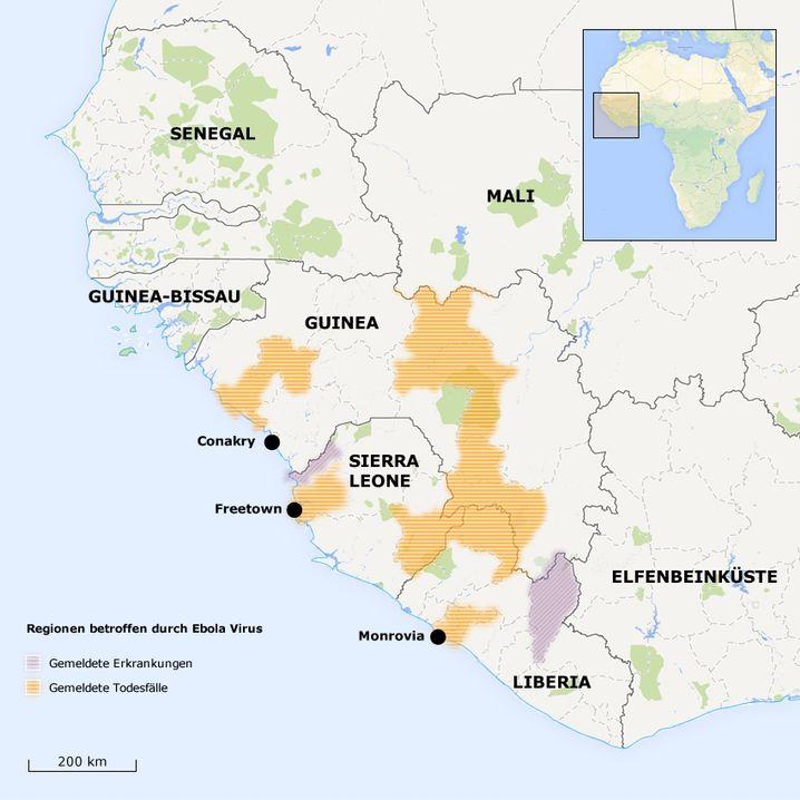 Krankheitsfälle in Guinea, Sierra Leone und Liberia, Stand 2.7.2014: Ausbreitung über die Grenzen hinweg