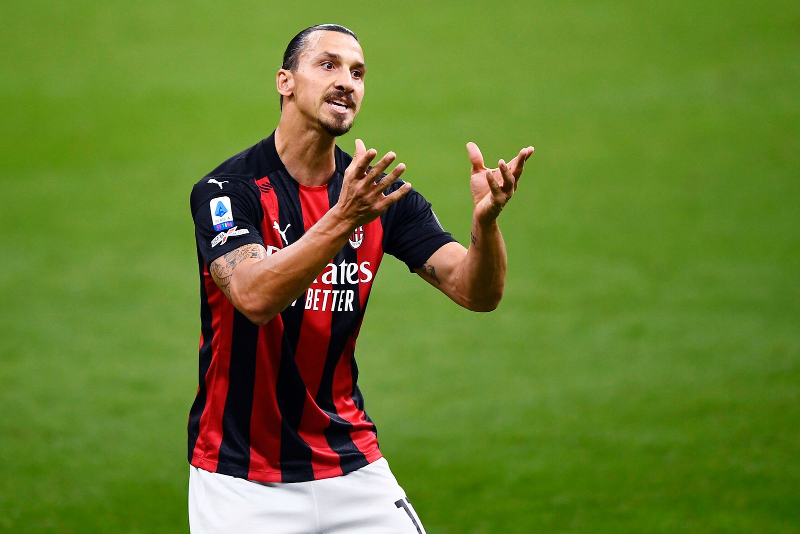 200921 Zlatan Ibrahimovic of AC Milan during the Serie A game between AC Milan and Bologna on September 21, 2020 in Mil