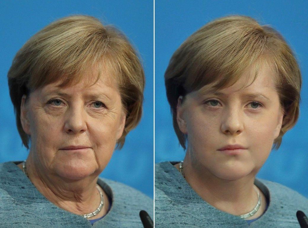 EINMALIGE VERWENDUNG Angela Merkel / faceApp