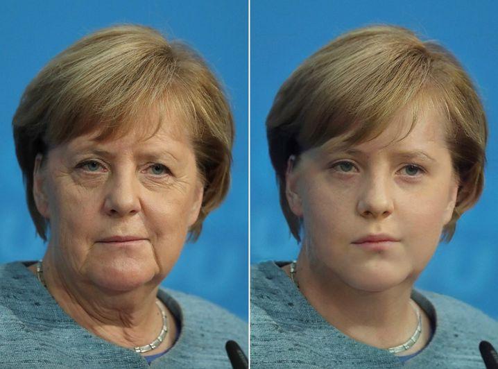 So sieht Kanzlerin Angela Merkel aus, wenn man sie per FaceApp digital verjüngt