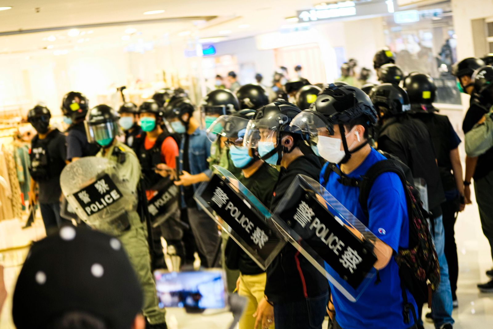 May 10, 2020, Hong Kong, China: Police stand on guard during a protest in a shopping mall on Mother s Day..Hong Kong po