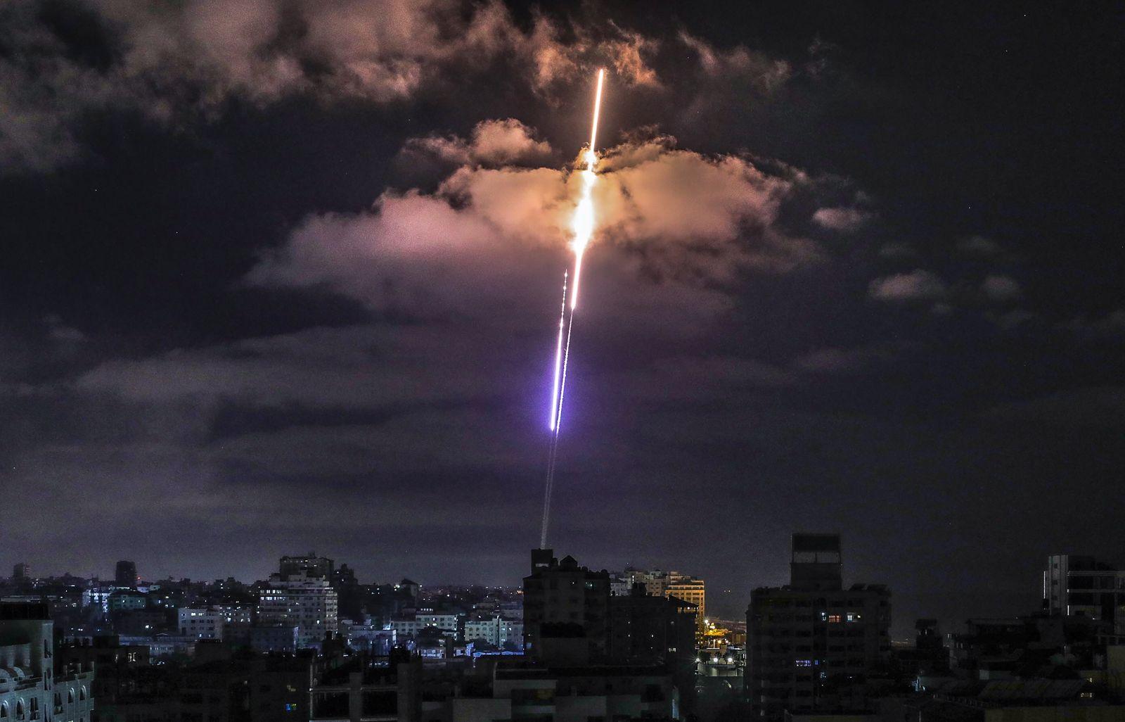 Rockets fired from Gaza fly towards Israel