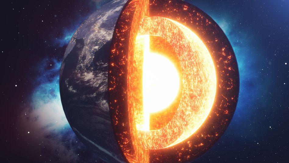 Model der Erde: Oberer Erdmantel (dunkel), darunter der untere Mantel (hellorange) und der Erdkern
