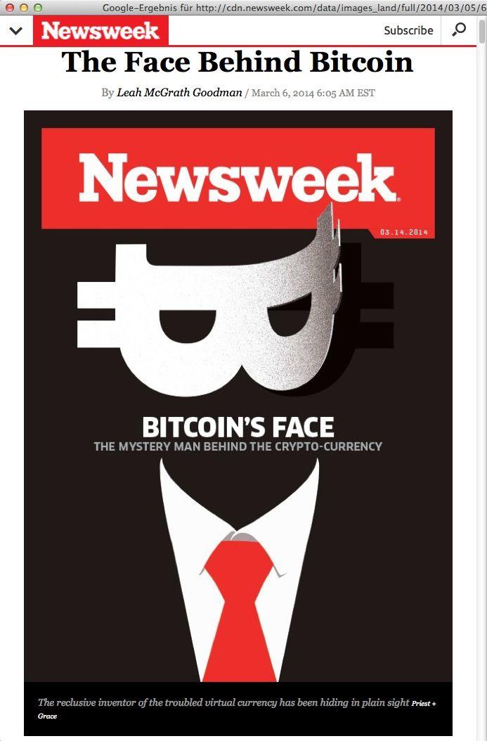 NUR ALS ZITAT Screenshot Newsweek Bitcoin`s Face